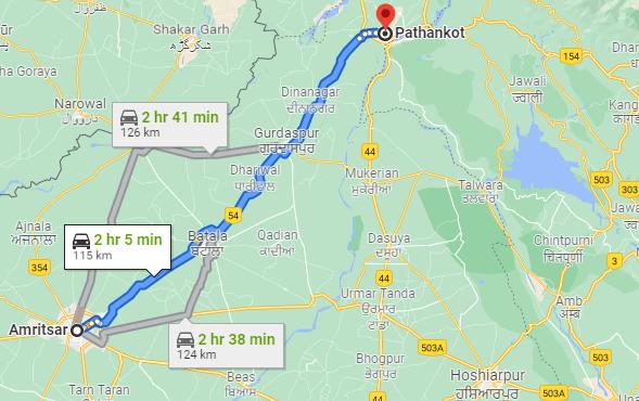 amritsar to pathankot route